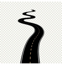 Curved winding road with white markings vector