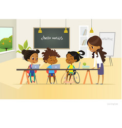 Disabled african american girl and two other vector