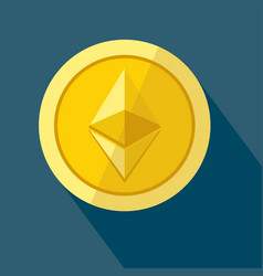 Ethereum icon as golden coin vector