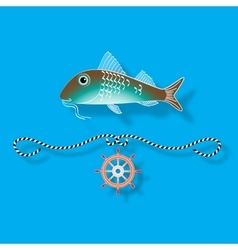 Fish and nautical design elements vector image