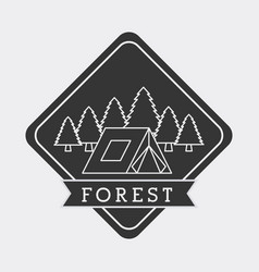 forest camp tent mountain pine tree natural stamp vector image vector image