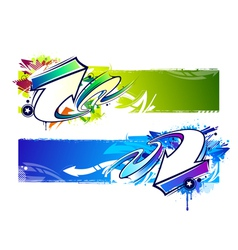 Graffiti bright banners vector