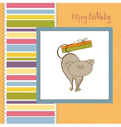 happy birthday card with cute cat vector image vector image