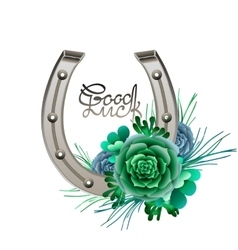 Horseshoes in silver color with succulent design vector