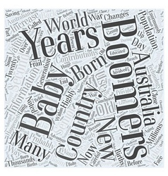 Information on baby boomers word cloud concept vector