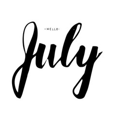 july lettering print summer vector image vector image