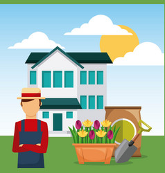 Man gardener in garden house with shovel and sack vector