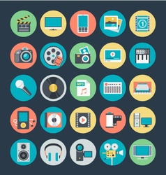 Multimedia Colored Icons 1 vector image