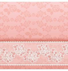 Roses on background square lace pink vector