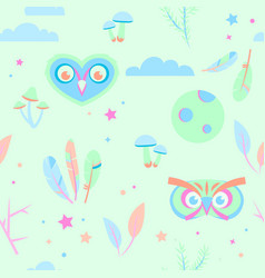 seamless pajama pattern in pastel colors with owls vector image vector image