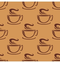 Seamless pattern of cups of steaming coffee vector image vector image