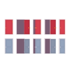Set of doors in different positions vector image vector image