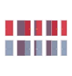 Set of doors in different positions vector