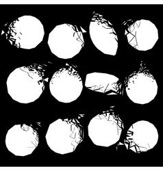 set of white broken shapes vector image