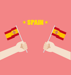 spain national day with hands holding up spain vector image