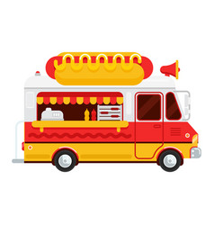 The colorful cute hot dog van flat vector