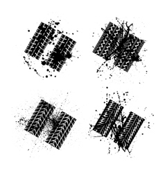 Tire tracks grunge set vector image vector image