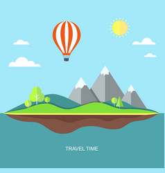 Travel flat with landscape vector