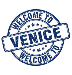 Welcome to venice blue round vintage stamp vector