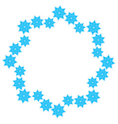 wreath of light blue snowflakes on a white vector image