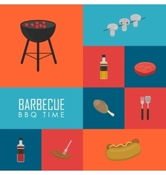 Bbq time concept barbecue grill icons set vector