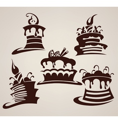Collection of cakes images and arts vector
