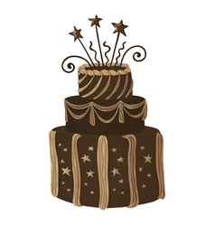 Hand drawn chocolate celebration cake vector image