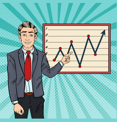 Pop art businessman pointing growth graph vector