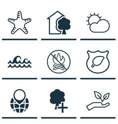 Set of 9 eco-friendly icons includes house guard vector
