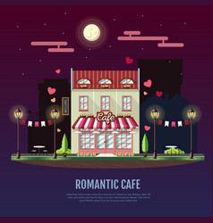 Flat style modern icon design of romantic cafe vector