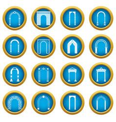 Arch set icons blue circle set vector