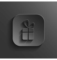 Gift icon - black app button vector image