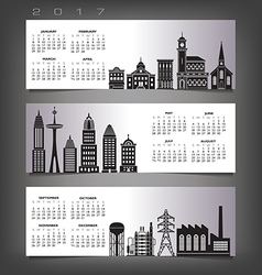 2017 calendar with three building banners vector