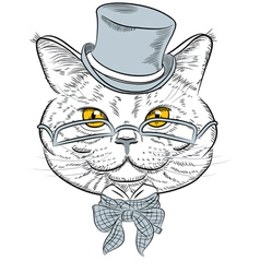 Funny british cat hipster vector
