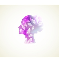 Prifile woman with flowers vector