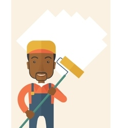 Standing african glass cleaner vector