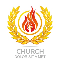 Logo fire rescue church christ savior religion vector