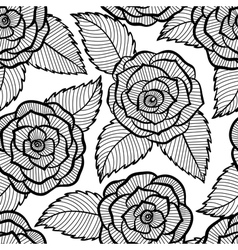Seamless black and white pattern in roses lace vector