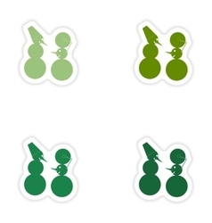 Set of paper stickers on white background funny vector
