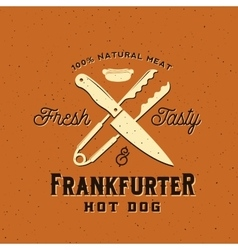 Frankfurter hot dog vintage card poster or vector