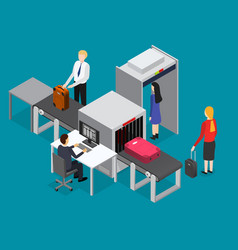 Airport waiting security control isometric view vector