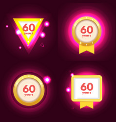 Anniversary 60 icons set vector