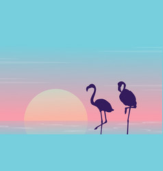 Beauty landscape with flamingo silhouette on lake vector