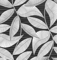 Black and white striped texture tropical seamless vector image vector image