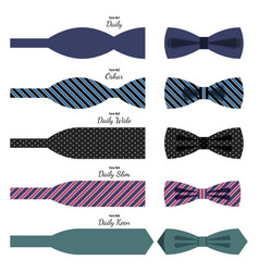 Bow ties set in colors with names on white vector