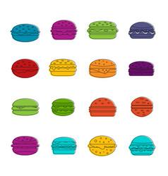 Burger icons doodle set vector