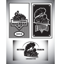 Business card template set vintage steam train vector