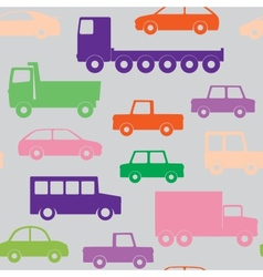 Cars and trucks seamless pattern vector image