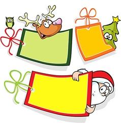 Christmas paper tag with santa christmas tree and vector