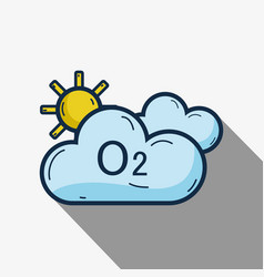 Cute clouds with o2 and sun vector